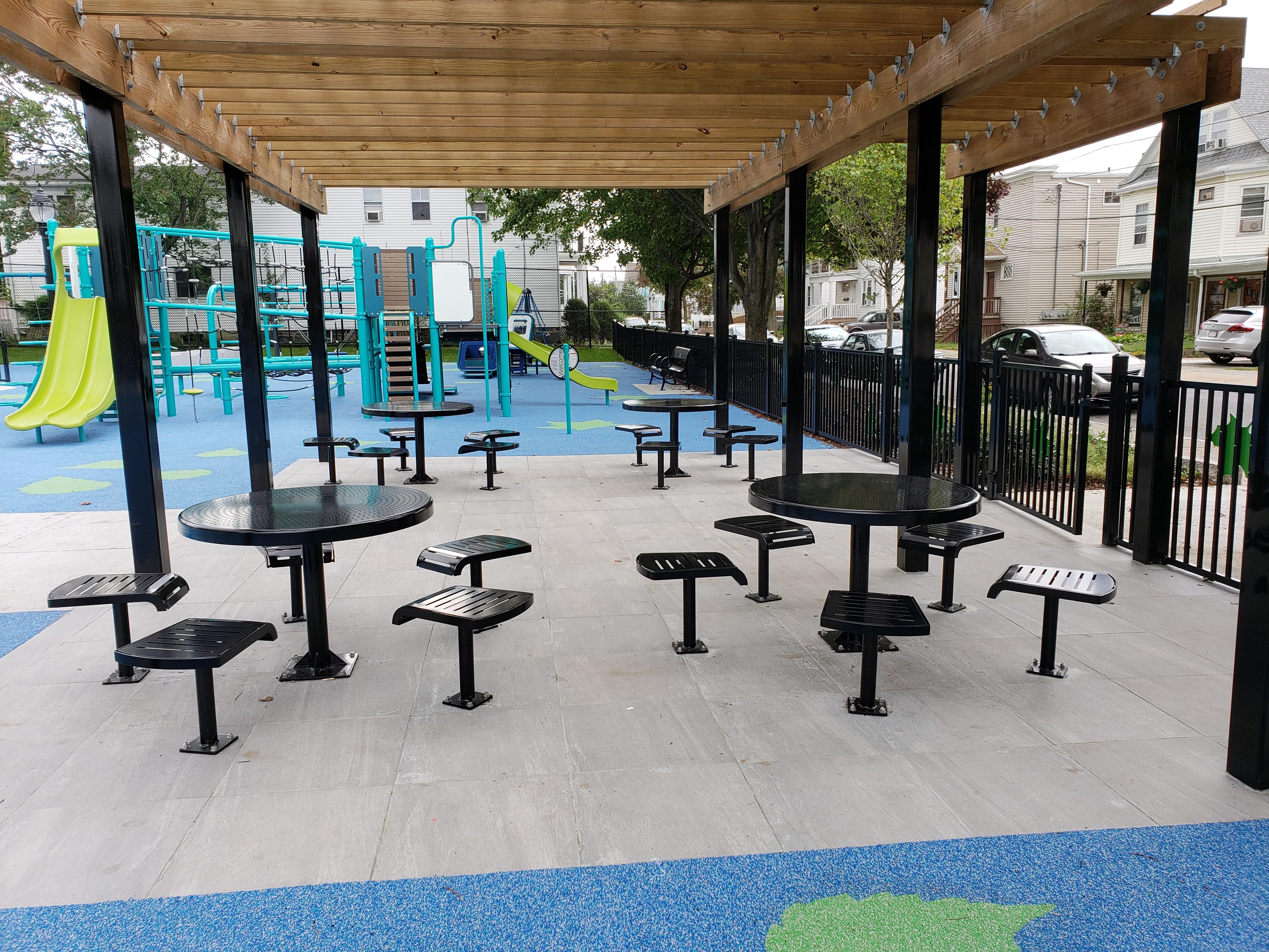 DuMor Picnic Tables, Landscape Structures Playground Gramstorff Park Massachusetts