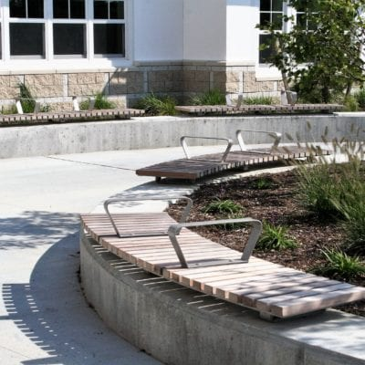 Plymouth South High School Radial Concrete Wall Benches